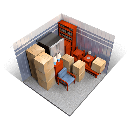 An example of a 10x10 storage unit holding boxes, furniture, appliances, and miscellaneous items.
